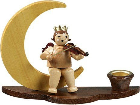 Candlestick - Musician angel on moon / natural with-crown