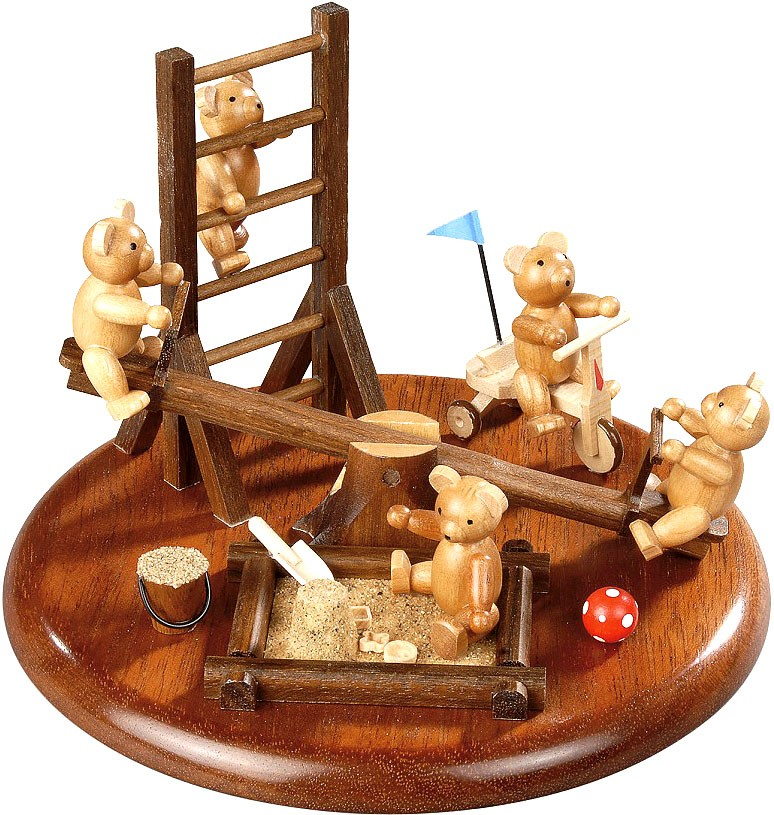 motif platform for electrical music box - bears in the playground