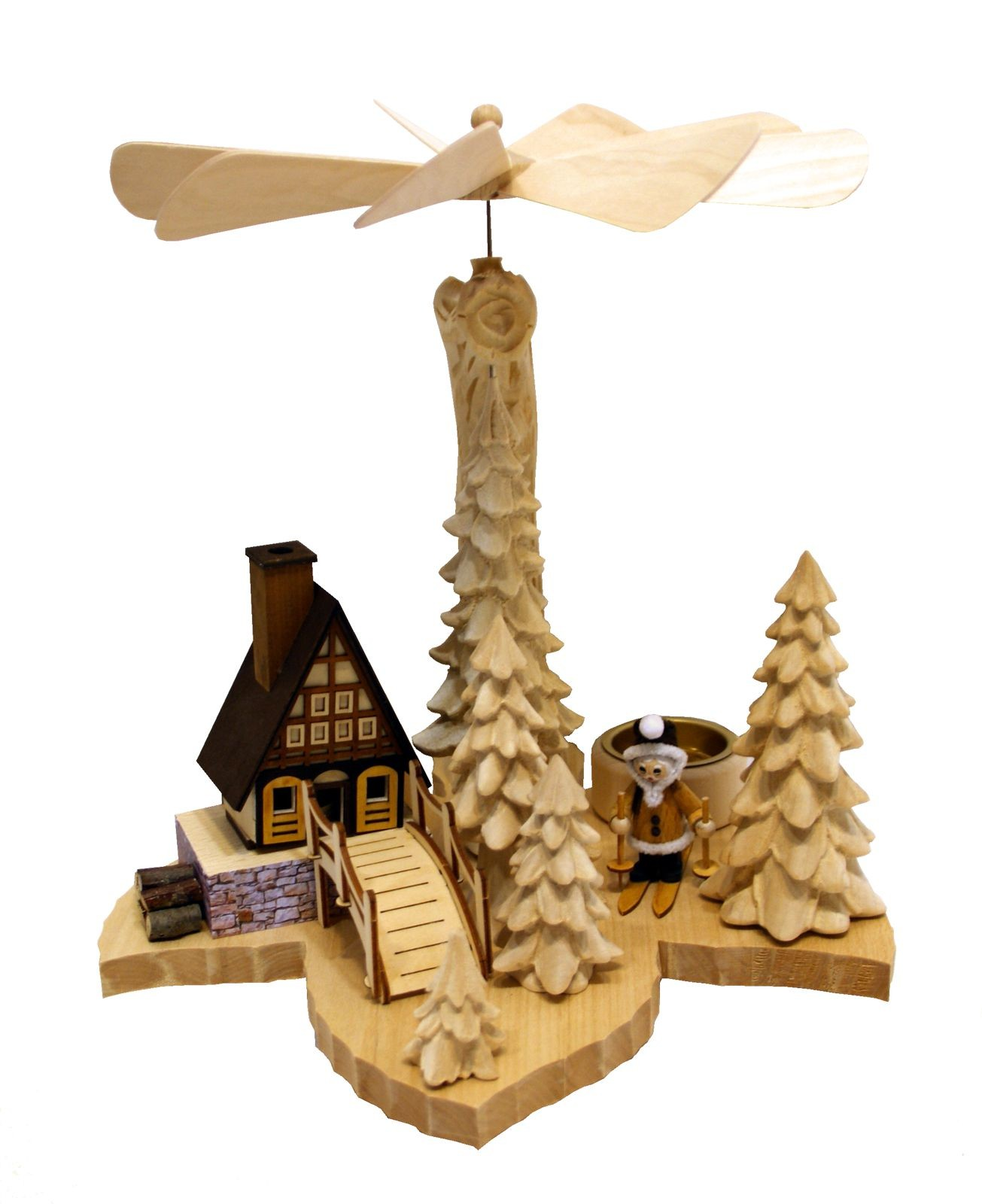 solid wood pyramid Santa Claus