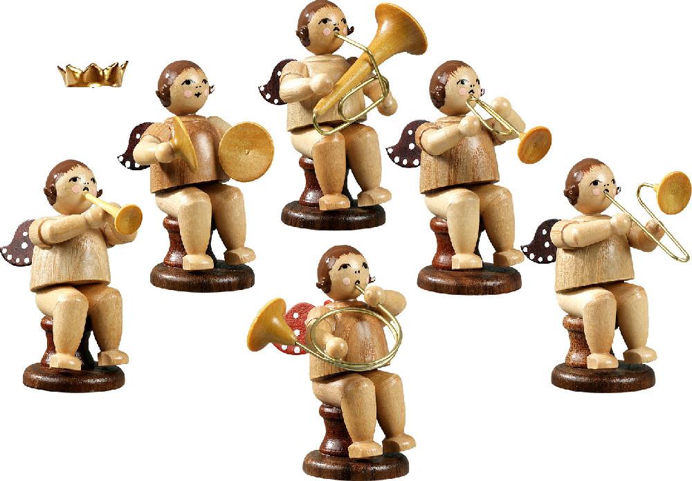 Ellmann Engelmusikanten, sitzend, 6-teilig, Variante 1 - natur