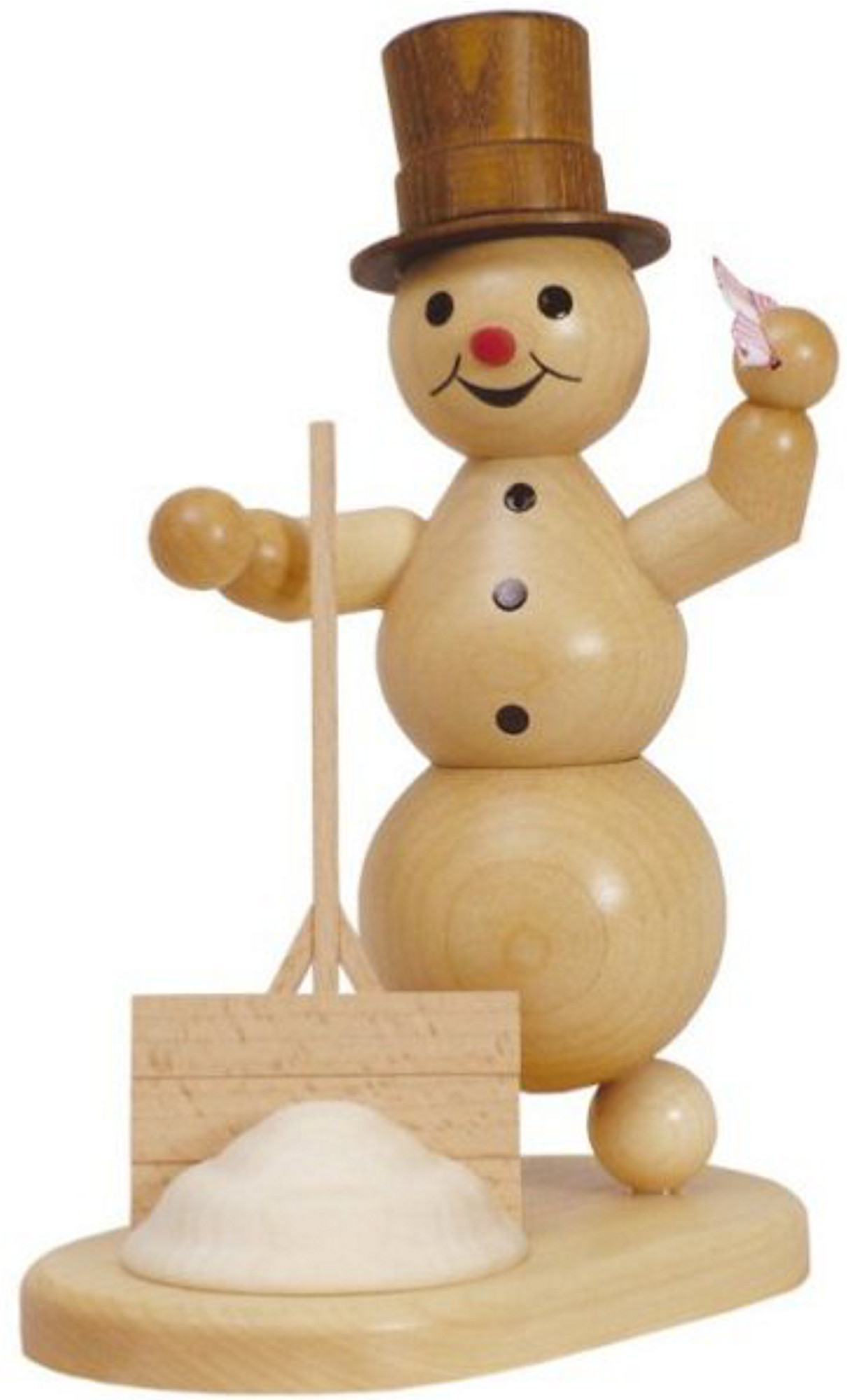 incense smoker, snowman with shovel and cloth