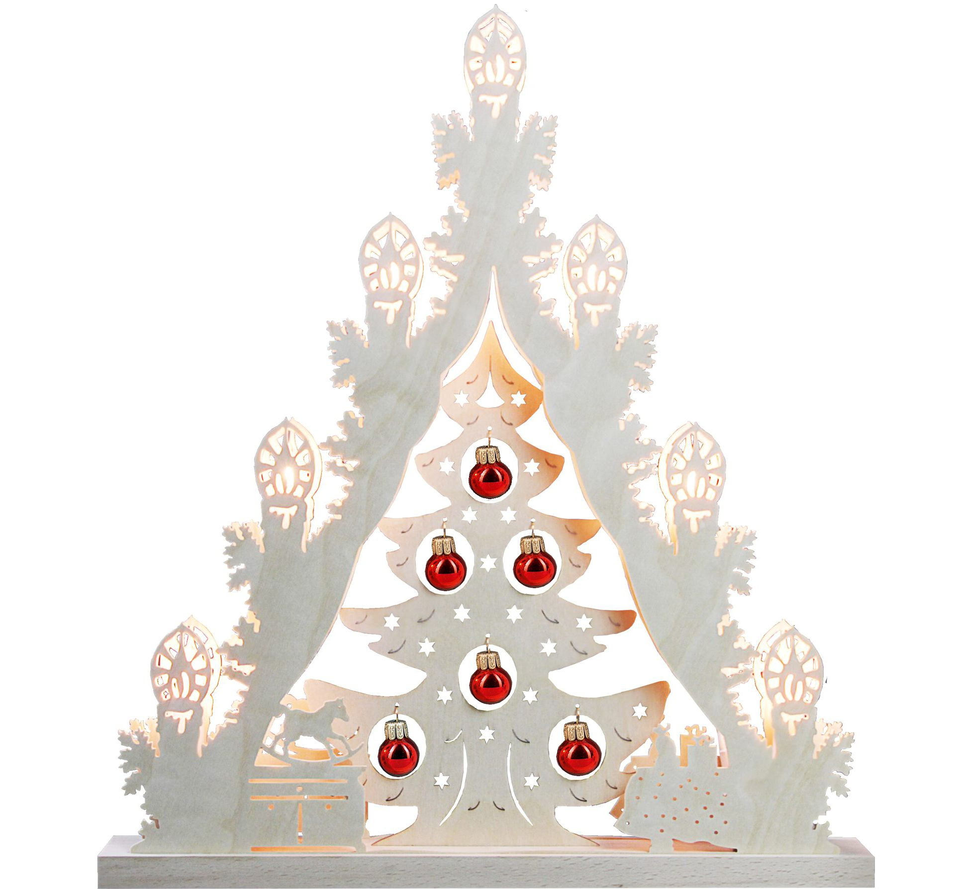 candle arch triangle tree with redden balls, 7 lights