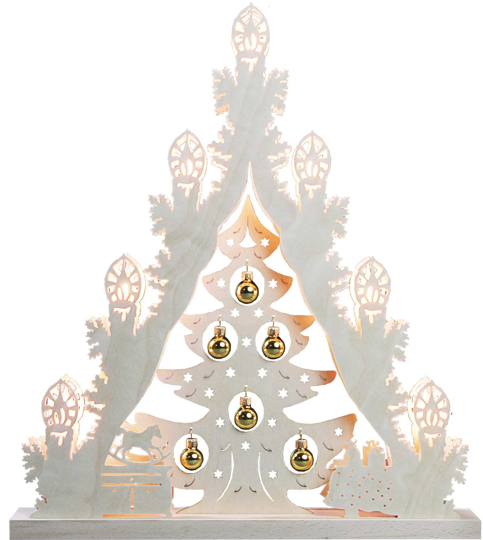 candle arch triangle tree with golden balls, 7 lights
