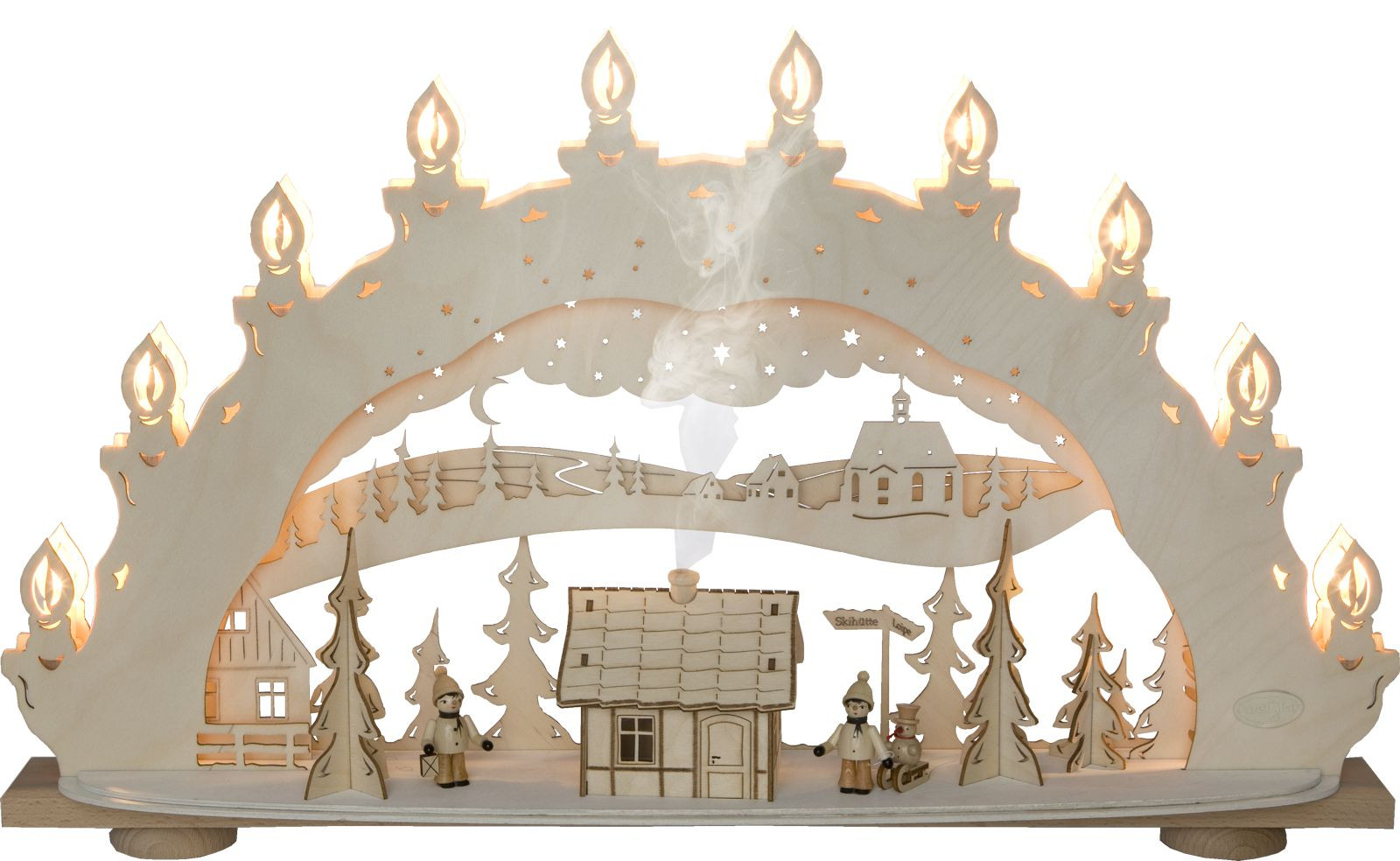 candle arch winter wonderland, with smoking house
