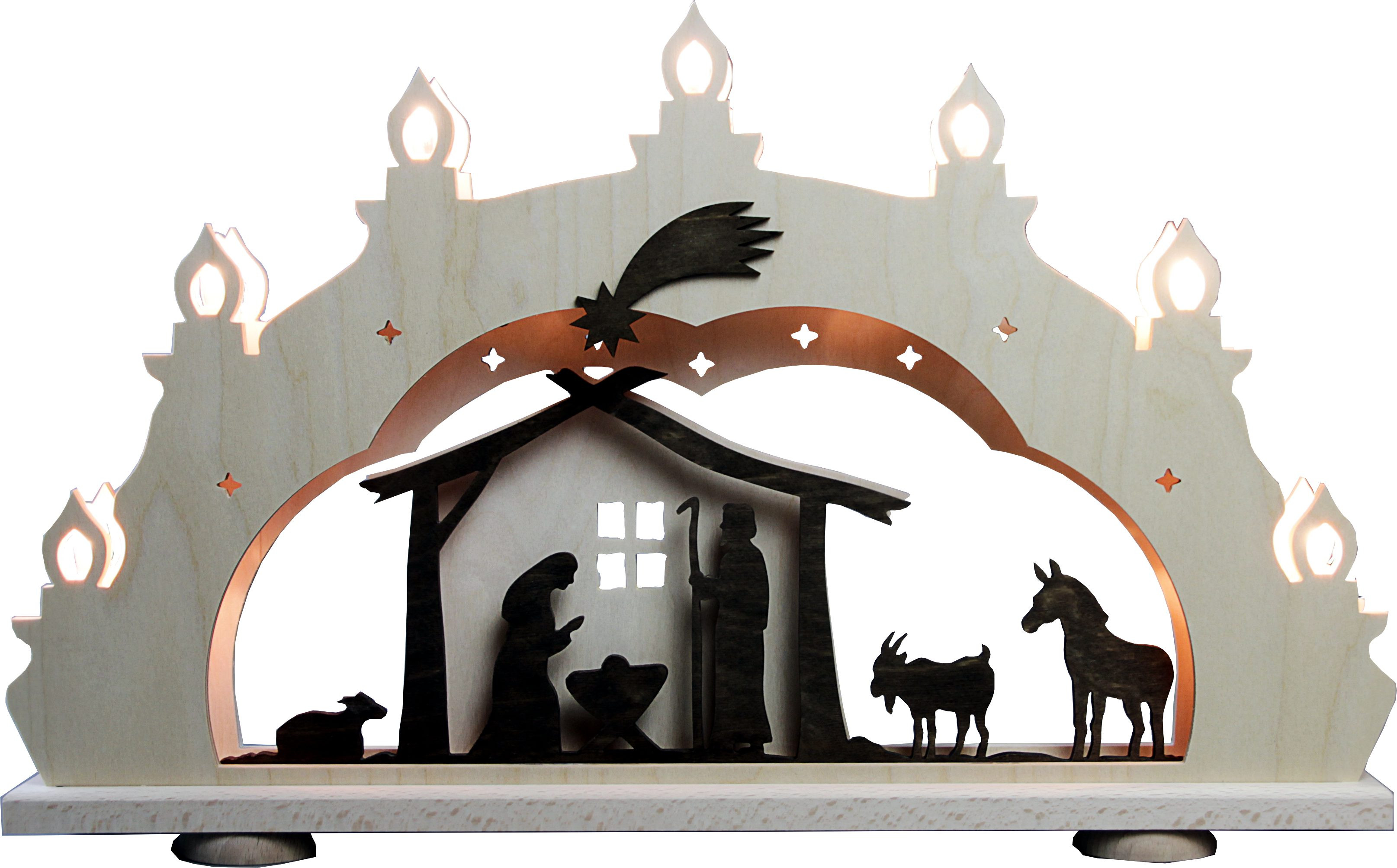 candle arch Nativity, rustic