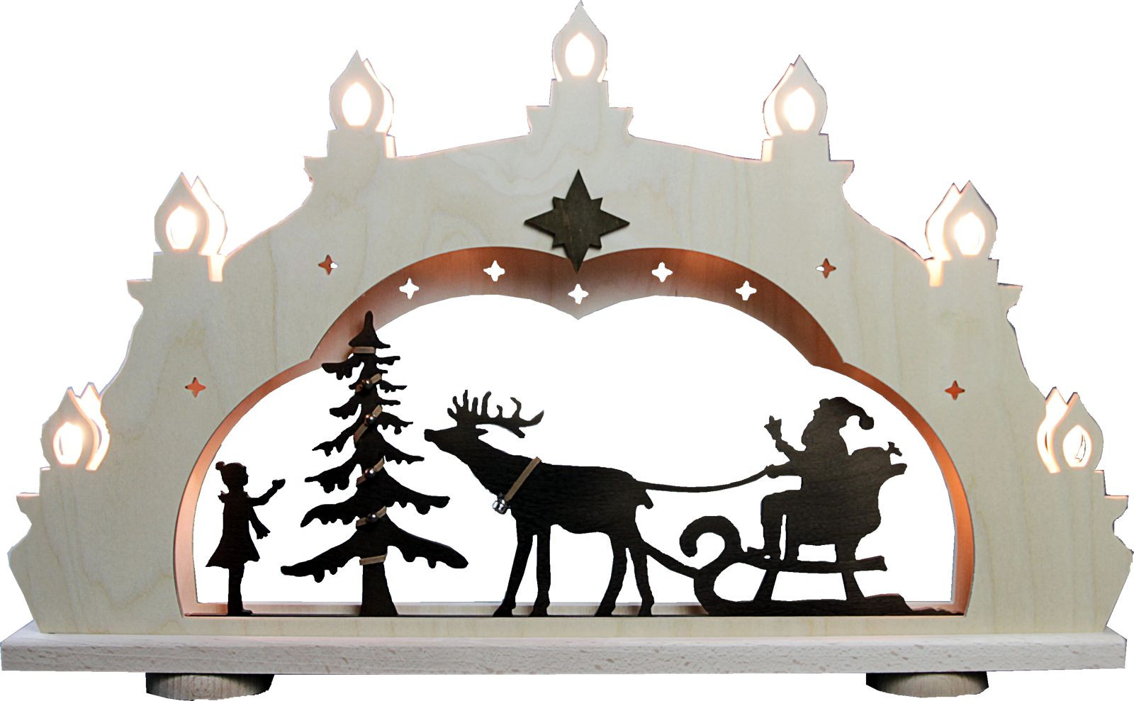 candle arch Santa Claus on sledge, rustic