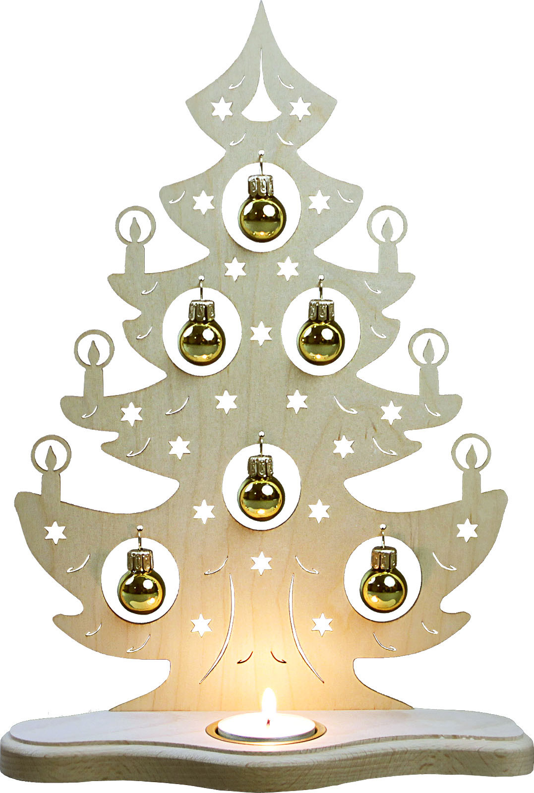 tealight holder Christmas tree with golden balls