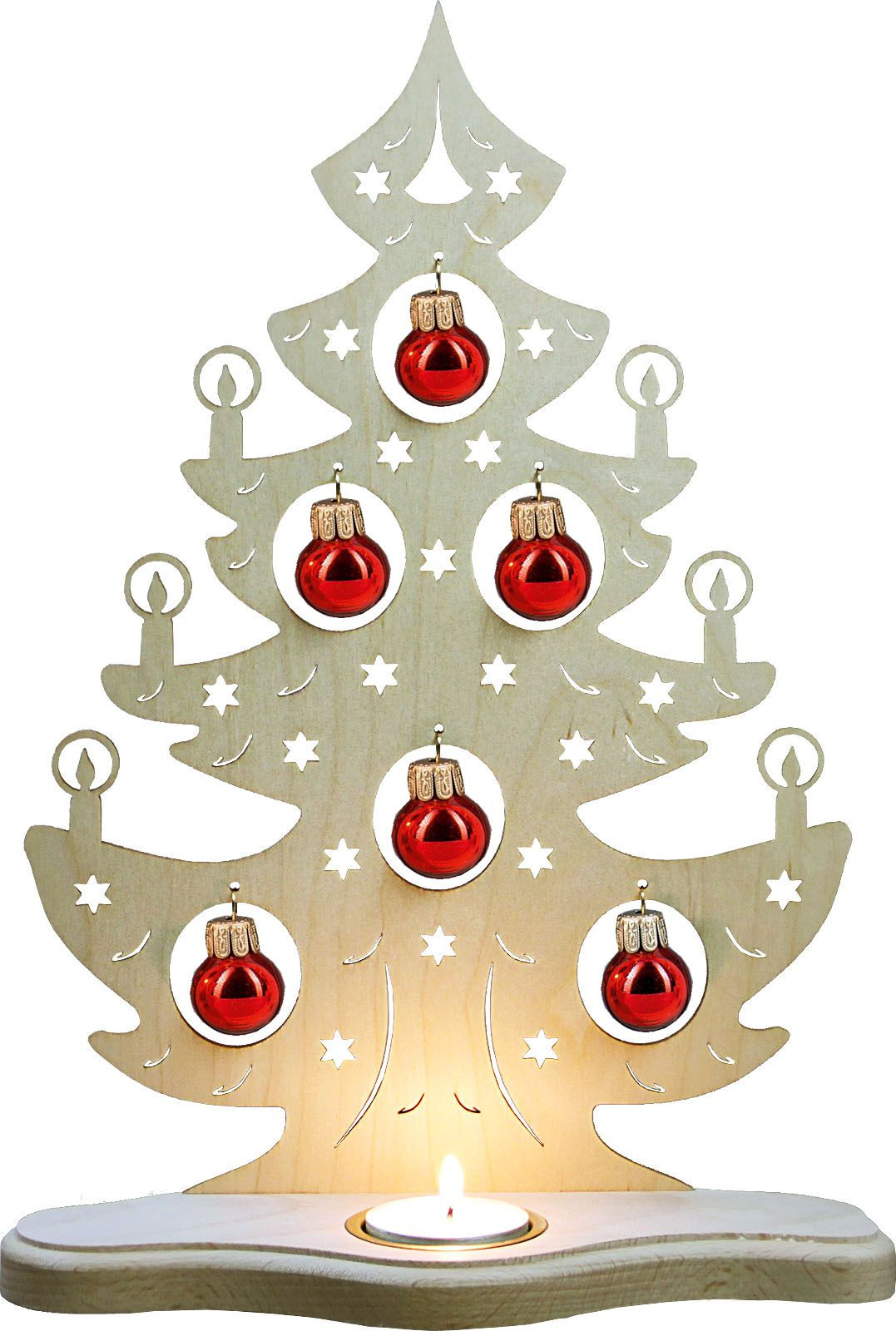 tealight holder Christmas tree with redden balls