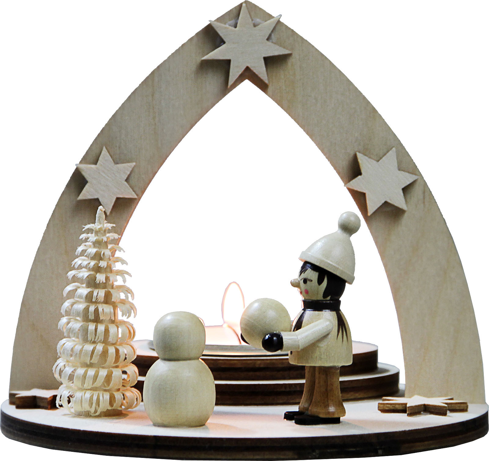 tealight holder winter child building snowman