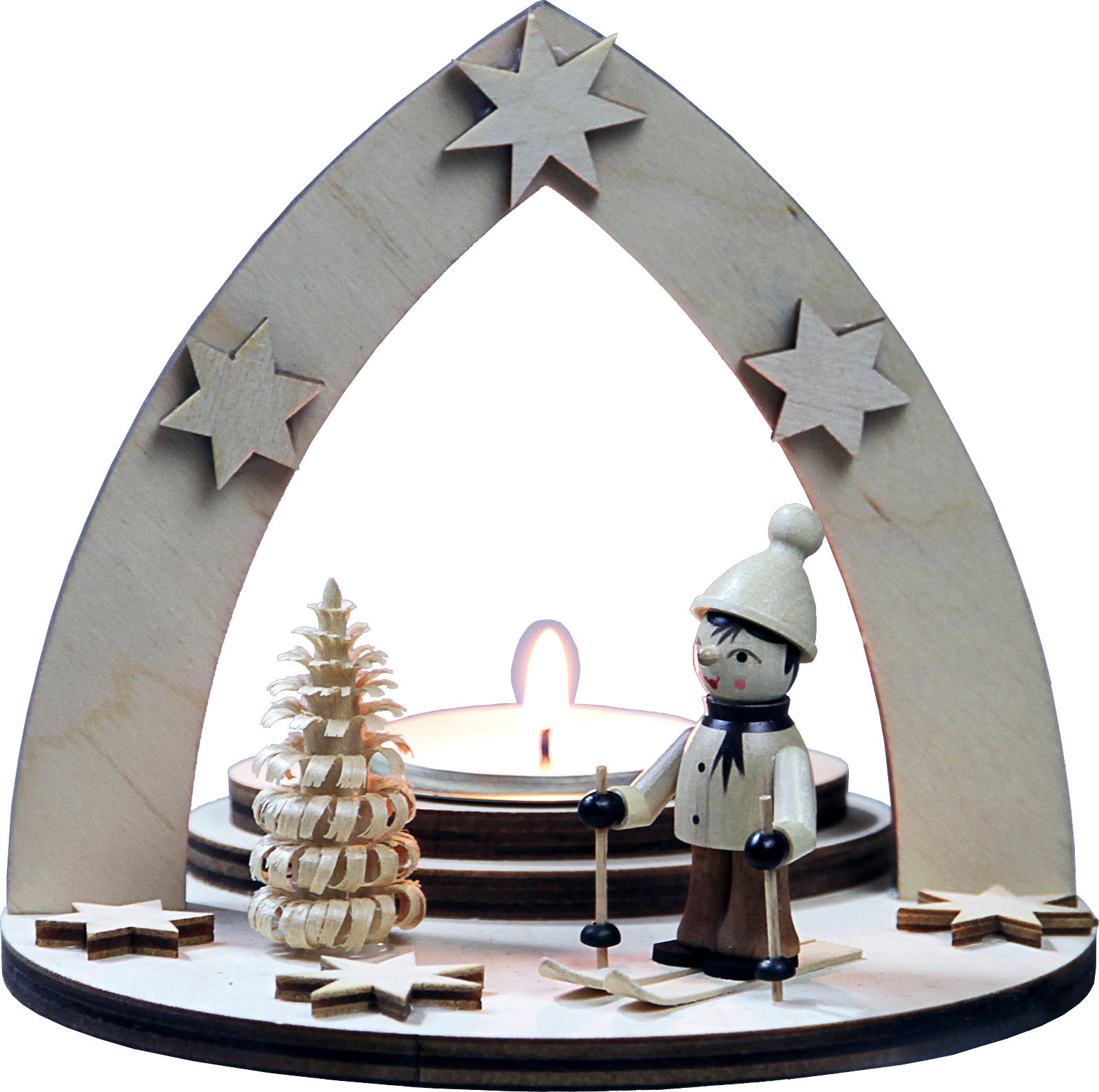 tealight holder winter child on ski