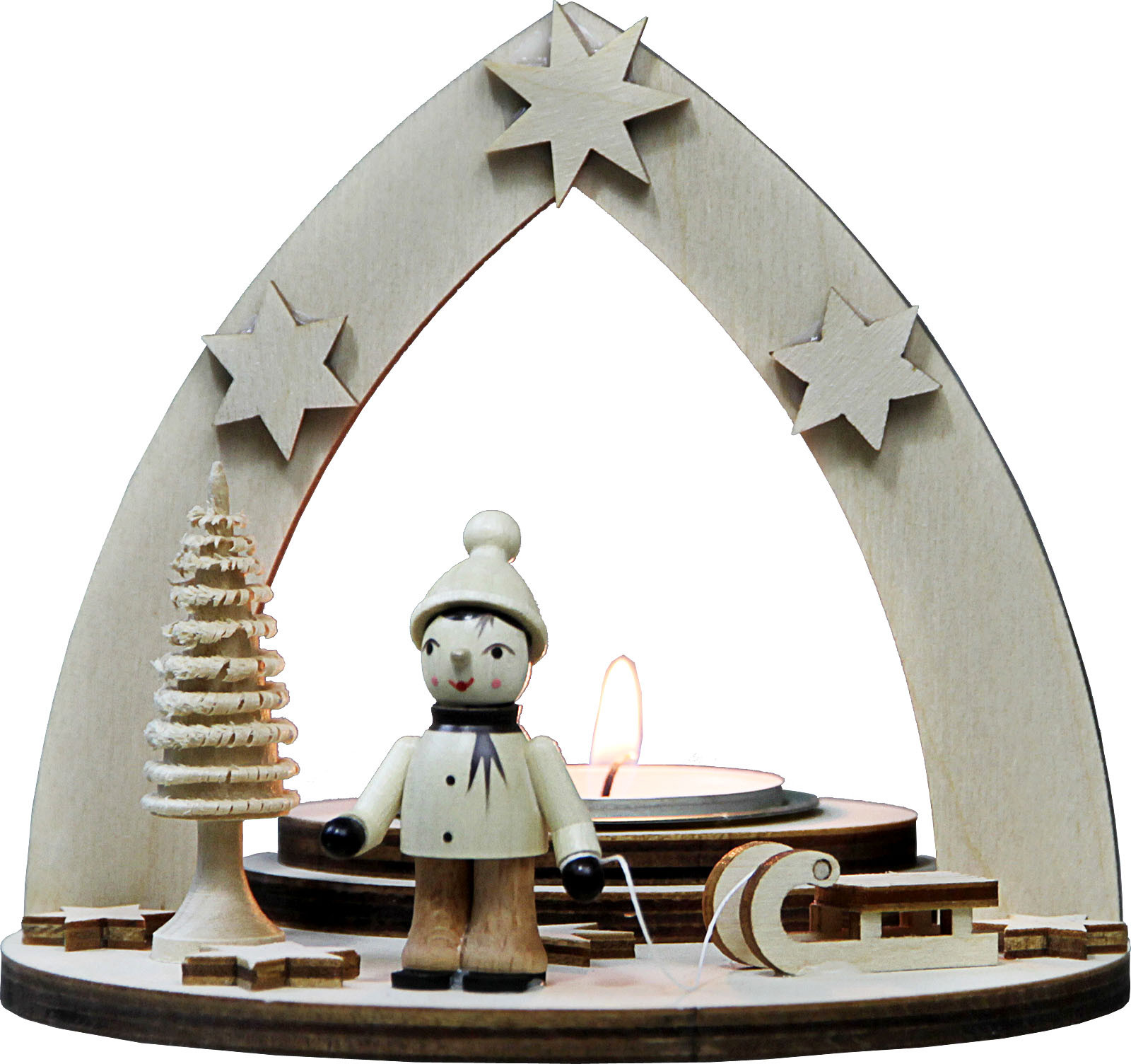 tealight holder winter child with sledge