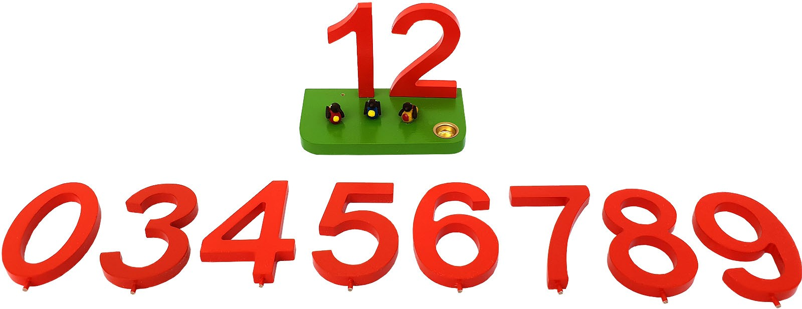 birthday numbers, red