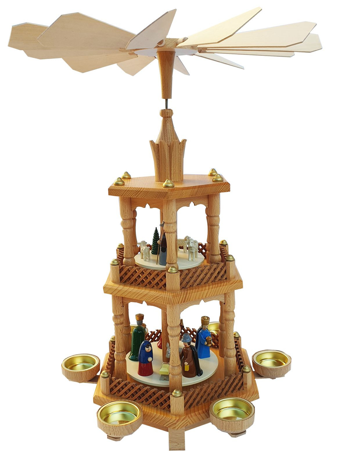 Christmas pyramid-natural-birth of christ with coloured figures