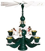 big candle stick pyramid, green, 5 white angels