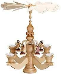 big candle stick pyramid, with 5 angels, natural
