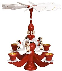 big candle stick pyramid, red, with 5 white angels