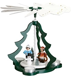 tealight pyramid with winter children, green
