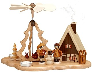 pyramid winter children with incense smoking house