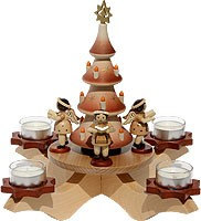 Advent candlestick natural - tree + 4 angels