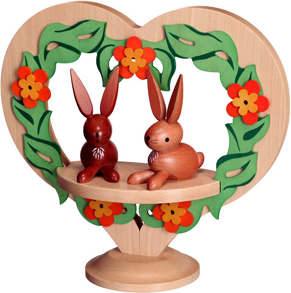 decoration figure - heart standing, with rabbits, coloured