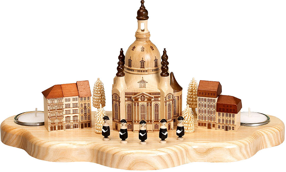 tealight holder Dresden Frauenkirche with houses Neumarkt, singer and little tree