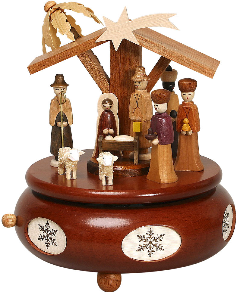 music box Nativity, natural