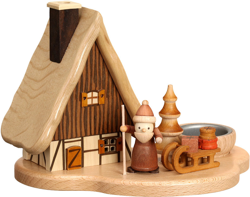 tealight holder - smoker house with Santa Claus, natural