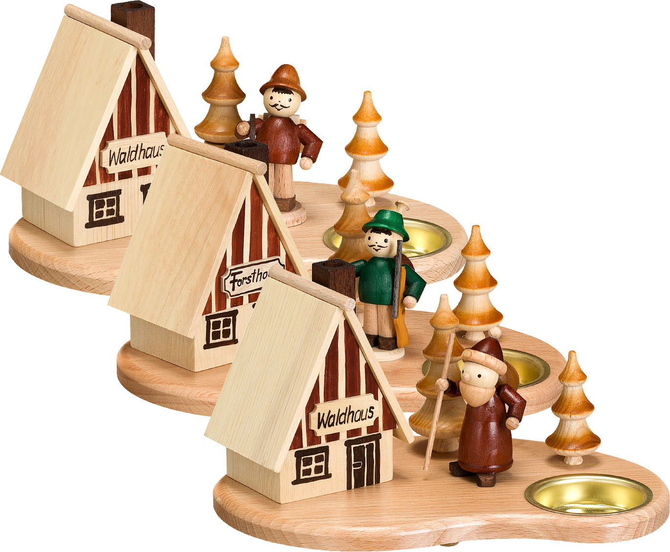 tealight holder, set of smoker house, 3-pcs - forester, lumberjack, Santa Claus