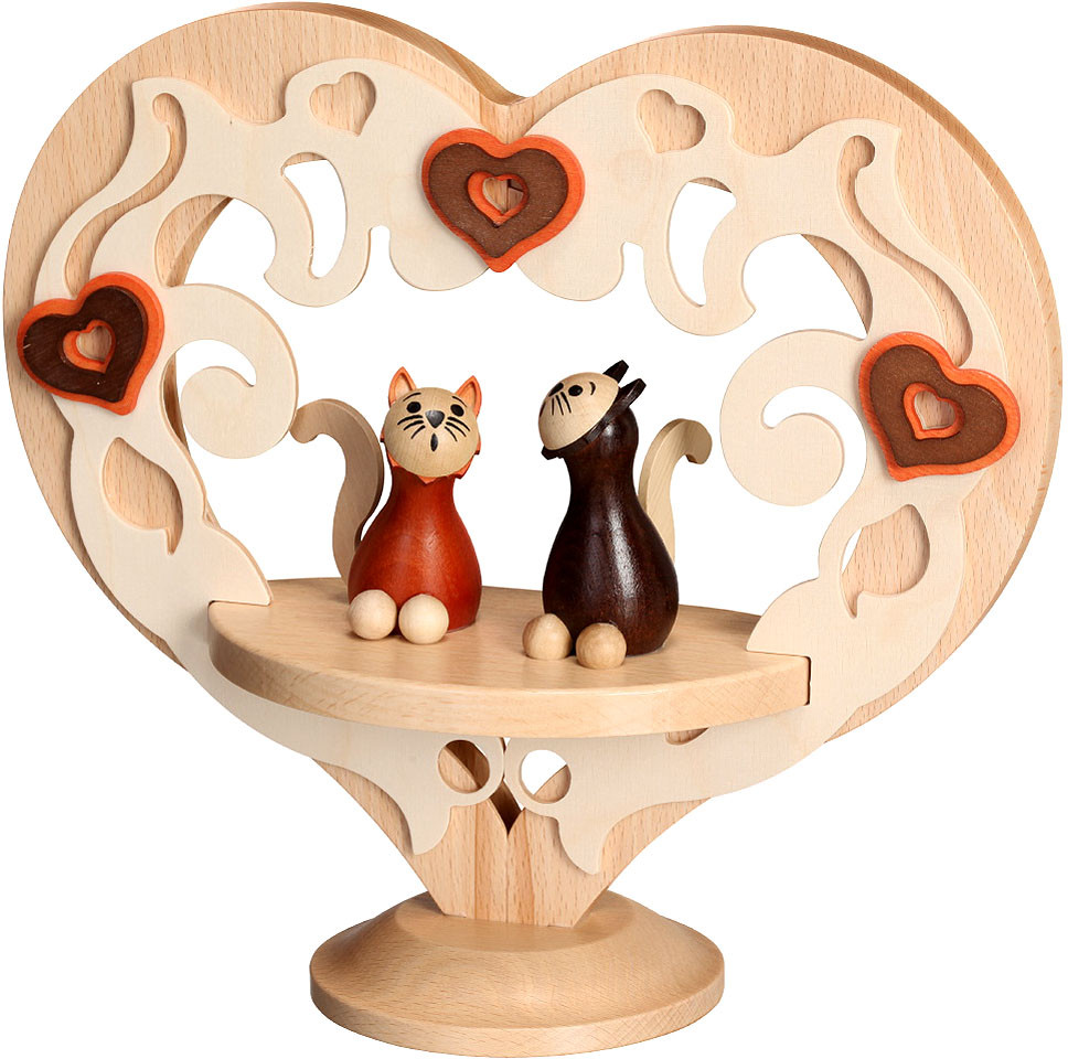 decoration figure - heart, standing, with cats, natural